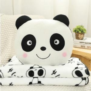Peluche panda joyeux avec couverture Peluche Panda Peluche Animaux Tranche d'âge: > 3 ans
