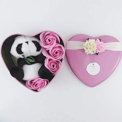 Peluche panda coffret rose Saint Valentin Peluche Saint-Valentin Matériaux: Coton