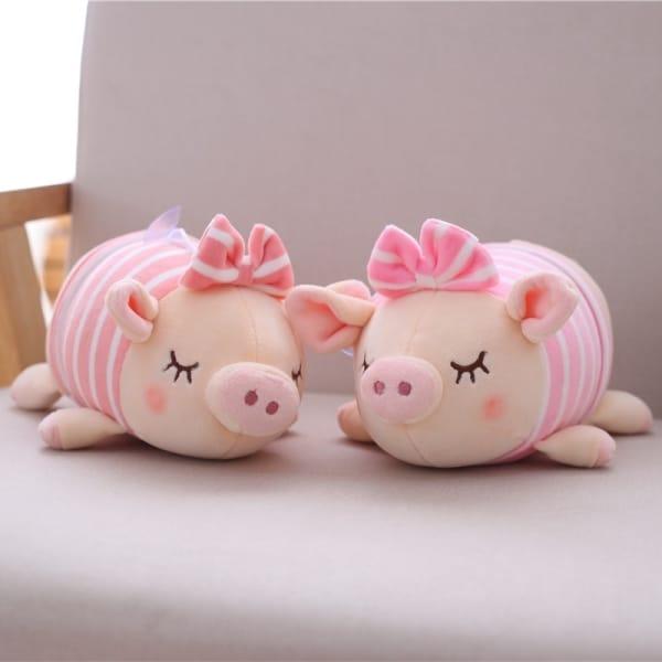 Peluche cochon avec petit nœud rose Peluche Cochon Peluche Animaux Matériaux: Coton