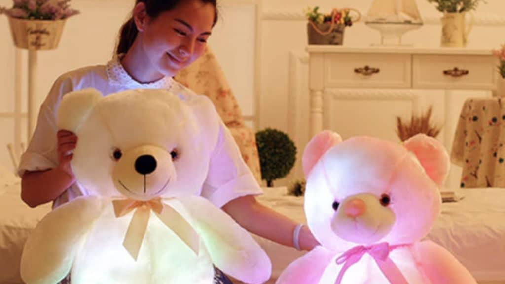 ours en peluche oreiller led rose et blanc