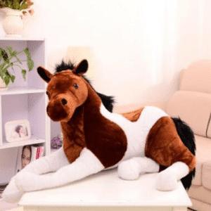 Peluche cheval blanc marron Peluche Cheval Matériaux: Coton